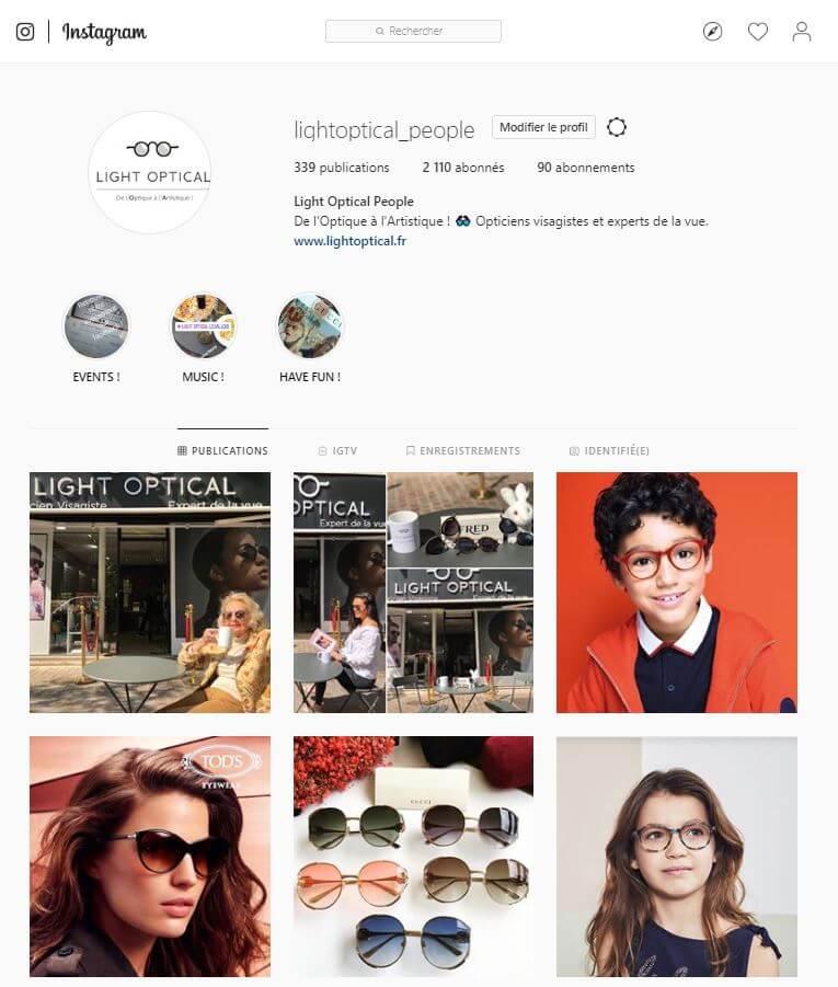 Réseaux Sociaux : Instagram Light Optical